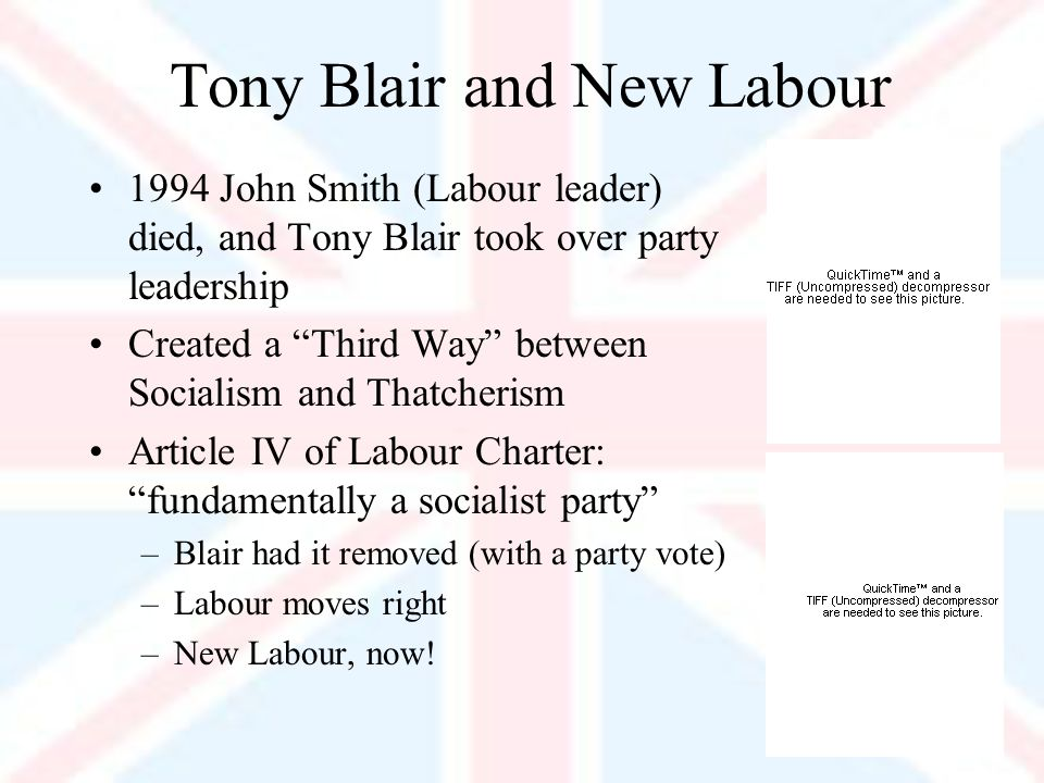 Tony Blair and New Labour 1994 John Smith (Labour leader) died, and Tony Blair took over party leadership Created a Third Way between Socialism and Thatcherism Article IV of Labour Charter: fundamentally a socialist party –Blair had it removed (with a party vote) –Labour moves right –New Labour, now!
