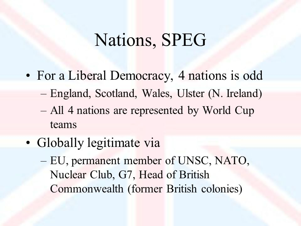 Nations, SPEG For a Liberal Democracy, 4 nations is odd –England, Scotland, Wales, Ulster (N.