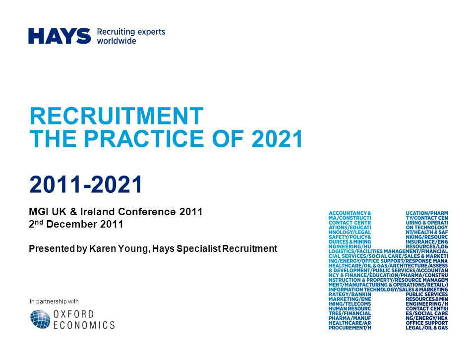In partnership with RECRUITMENT THE PRACTICE OF 2021 2011-2021 MGI UK & Ireland Conference 2011 2 nd December 2011 Presented by Karen Young, Hays Specialist Recruitment