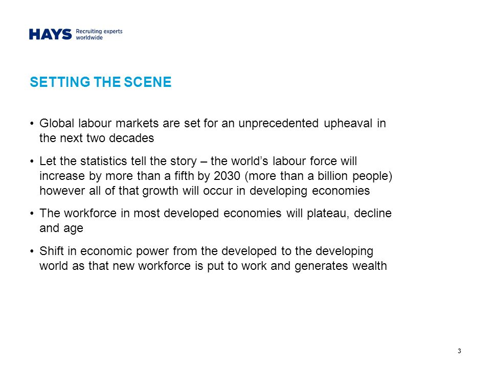 3 SETTING THE SCENE Global labour markets are set for an unprecedented upheaval in the next two decades Let the statistics tell the story – the worlds labour force will increase by more than a fifth by 2030 (more than a billion people) however all of that growth will occur in developing economies The workforce in most developed economies will plateau, decline and age Shift in economic power from the developed to the developing world as that new workforce is put to work and generates wealth