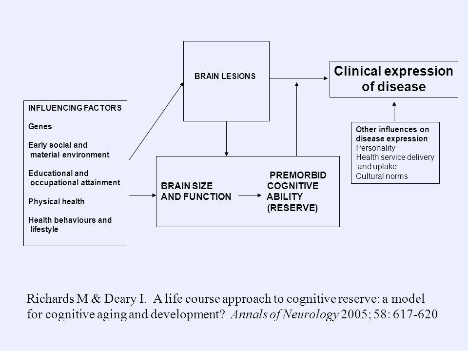 Clinical expression of disease Other influences on disease expression: Personality Health service delivery and uptake Cultural norms BRAIN LESIONS INFLUENCING FACTORS Genes Early social and material environment Educational and occupational attainment Physical health Health behaviours and lifestyle PREMORBID BRAIN SIZE COGNITIVE AND FUNCTION ABILITY (RESERVE) Richards M & Deary I.