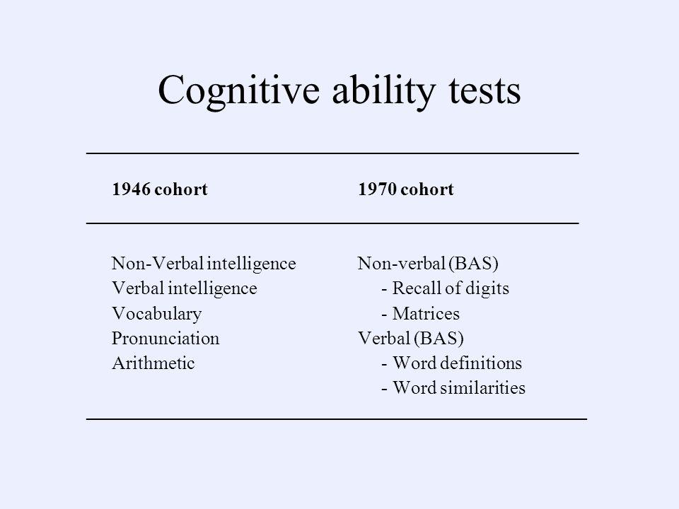 Cognitive ability tests ____________________________________________________ 1946 cohort1970 cohort __________________________________________________