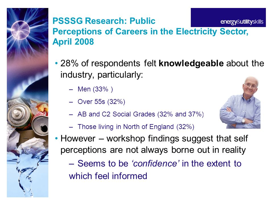 28% of respondents felt knowledgeable about the industry, particularly: –Men (33% ) –Over 55s (32%) –AB and C2 Social Grades (32% and 37%) –Those living in North of England (32%) However – workshop findings suggest that self perceptions are not always borne out in reality –Seems to be confidence in the extent to which feel informed PSSSG Research: Public Perceptions of Careers in the Electricity Sector, April 2008