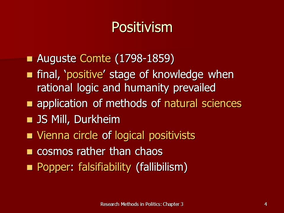 Research Methods in Politics: Chapter 34 Positivism Auguste Comte ( ) Auguste Comte ( ) final, positive stage of knowledge when rational logic and humanity prevailed final, positive stage of knowledge when rational logic and humanity prevailed application of methods of natural sciences application of methods of natural sciences JS Mill, Durkheim JS Mill, Durkheim Vienna circle of logical positivists Vienna circle of logical positivists cosmos rather than chaos cosmos rather than chaos Popper: falsifiability (fallibilism) Popper: falsifiability (fallibilism)