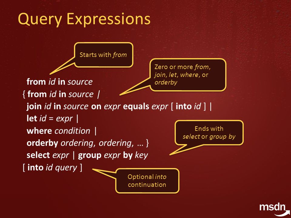 Query Expressions from id in source { from id in source | join id in source on expr equals expr [ into id ] | let id = expr | where condition | orderb