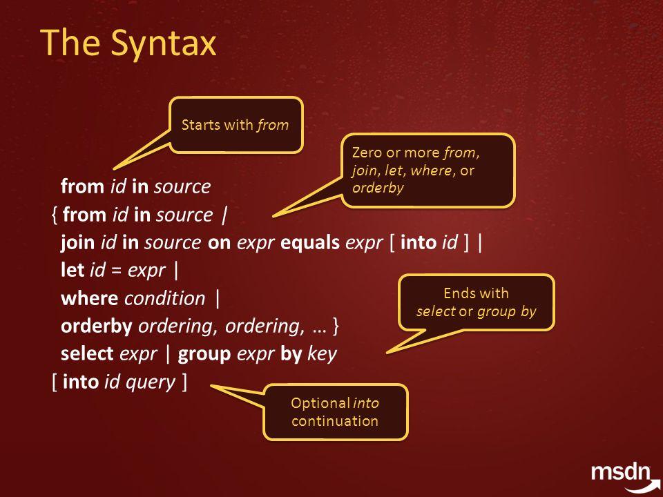 Extension Methods (c#) namespace MyStuff { public static class Extensions { public static string Concatenate(this IEnumerable strings, string separator) {…} } namespace MyStuff { public static class Extensions { public static string Concatenate(this IEnumerable strings, string separator) {…} } using MyStuff; string[] names = new string[] { Jenny , Daniel , Rita }; string s = names.Concatenate( , ); string[] names = new string[] { Jenny , Daniel , Rita }; string s = names.Concatenate( , ); Extension method Brings extensions into scope obj.Foo(x, y) XXX.Foo(obj, x, y) obj.Foo(x, y) XXX.Foo(obj, x, y) IntelliSense!