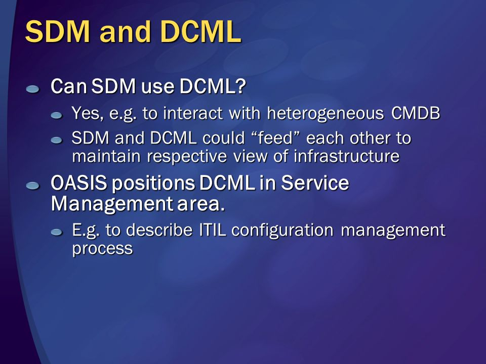 SDM Example: A File Server NB: NOT the final syntax namespace FileServer { public class FileShare { public key string name; int maximumUsers; bool cac