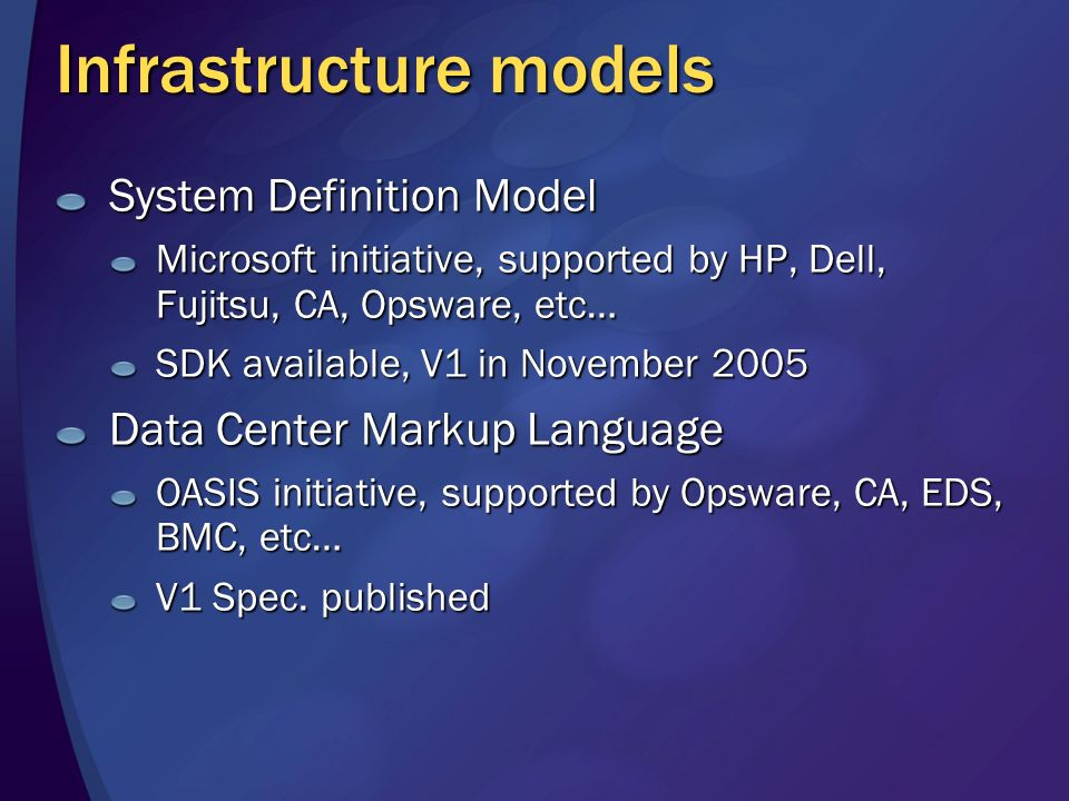 Infrastructure models System Definition Model Microsoft initiative, supported by HP, Dell, Fujitsu, CA, Opsware, etc… SDK available, V1 in November 2005 Data Center Markup Language OASIS initiative, supported by Opsware, CA, EDS, BMC, etc… V1 Spec.