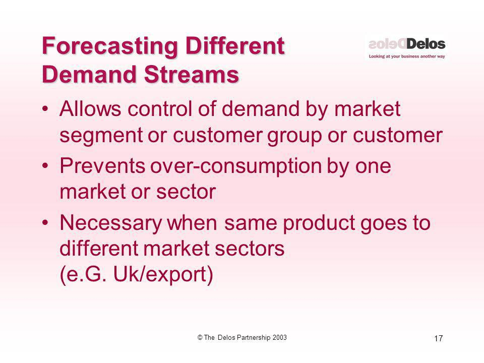 17 © The Delos Partnership 2003 Forecasting Different Demand Streams Allows control of demand by market segment or customer group or customer Prevents