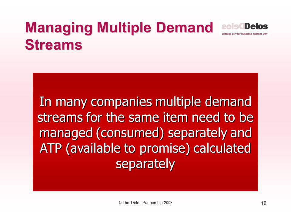 18 © The Delos Partnership 2003 In many companies multiple demand streams for the same item need to be managed (consumed) separately and ATP (availabl
