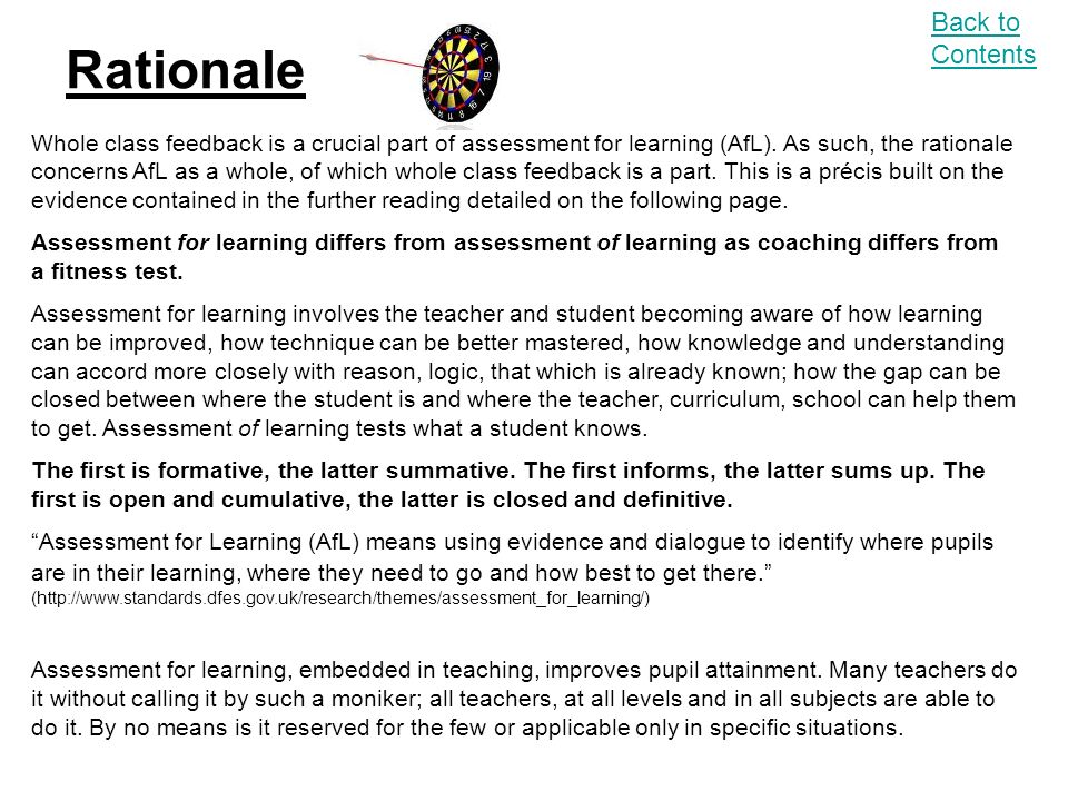 Rationale Back to Contents Whole class feedback is a crucial part of assessment for learning (AfL).