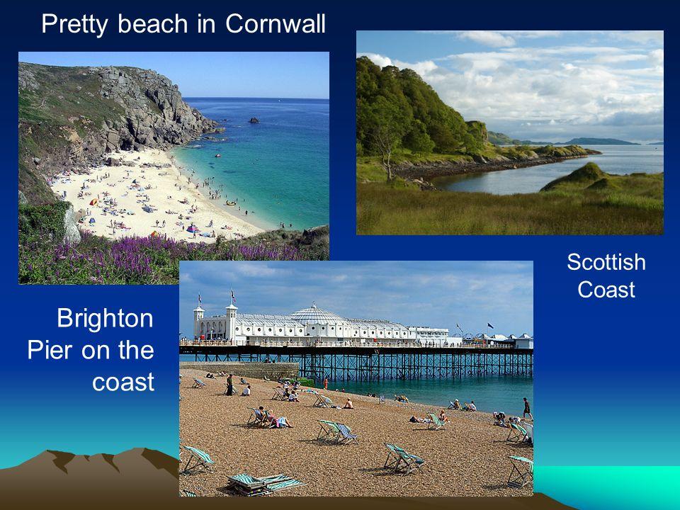 Pretty beach in Cornwall Brighton Pier on the coast Scottish Coast