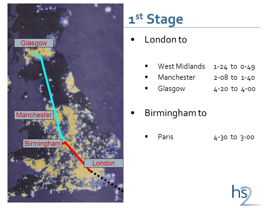1 st Stage London to West Midlands1-24 to 0-49 Manchester2-08 to 1-40 Glasgow4-20 to 4-00 Birmingham to Paris4-30 to 3-00 London Manchester Birmingham