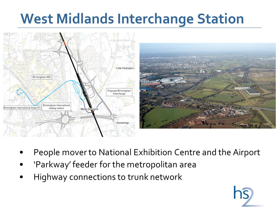 West Midlands Interchange Station People mover to National Exhibition Centre and the Airport Parkway feeder for the metropolitan area Highway connections to trunk network