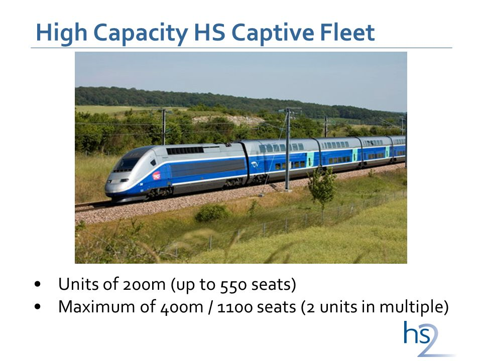 High Capacity HS Captive Fleet Units of 200m (up to 550 seats) Maximum of 400m / 1100 seats (2 units in multiple)