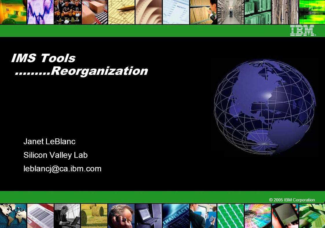 © 2005 IBM Corporation IMS Tools ………Reorganization Janet LeBlanc Silicon Valley Lab leblancj@ca.ibm.com