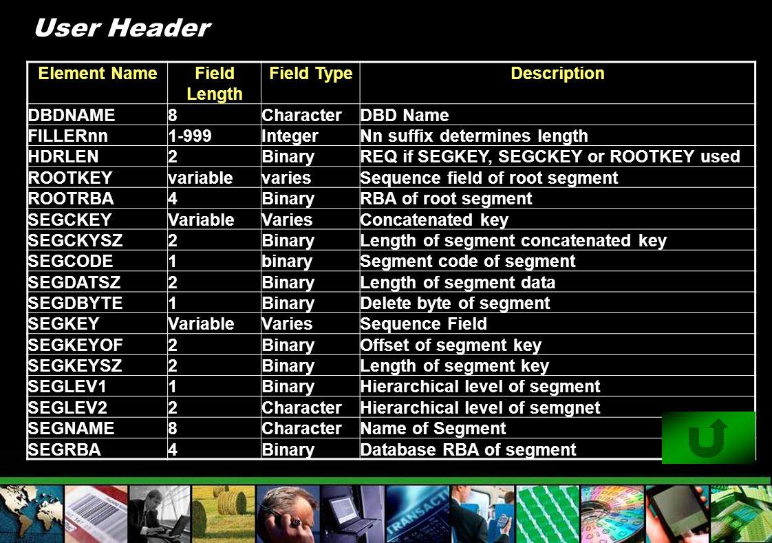 User Header Element NameField Length Field TypeDescription DBDNAME8CharacterDBD Name FILLERnn1-999IntegerNn suffix determines length HDRLEN2BinaryREQ