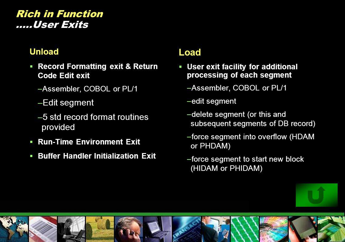 Rich in Function …..User Exits Unload Record Formatting exit & Return Code Edit exit –Assembler, COBOL or PL/1 –Edit segment –5 std record format rout