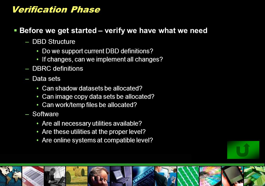 Verification Phase Before we get started – verify we have what we need –DBD Structure Do we support current DBD definitions? If changes, can we implem