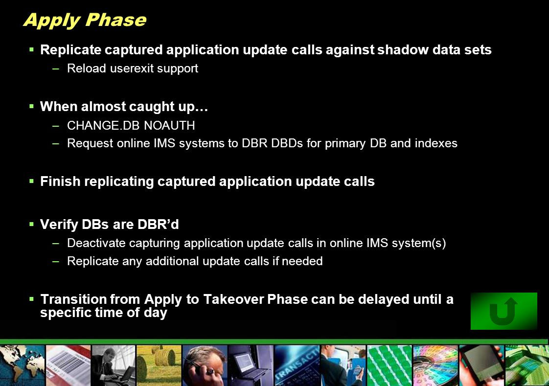 Apply Phase Replicate captured application update calls against shadow data sets –Reload userexit support When almost caught up… –CHANGE.DB NOAUTH –Re