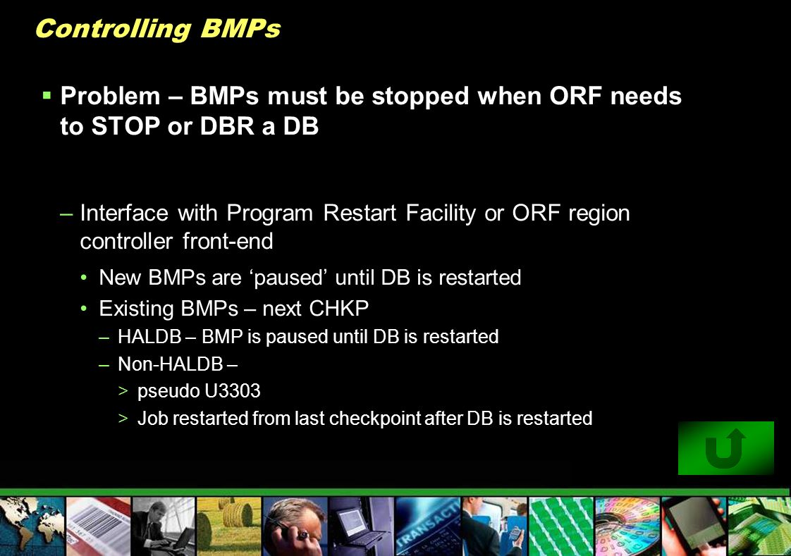 Controlling BMPs Problem – BMPs must be stopped when ORF needs to STOP or DBR a DB –Interface with Program Restart Facility or ORF region controller f