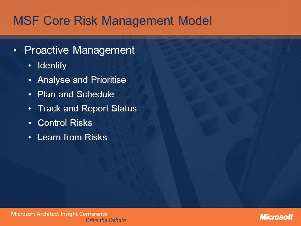 MSF Core Risk Management Model Proactive Management Identify Analyse and Prioritise Plan and Schedule Track and Report Status Control Risks Learn from