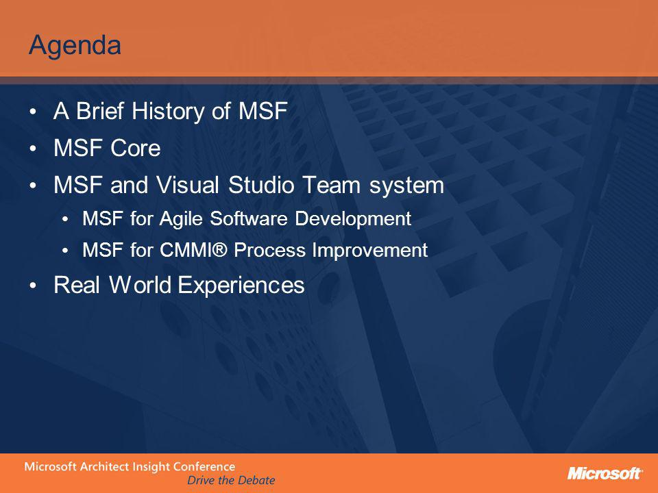 A Brief History of MSF 1994 1995 1997 1999 2002 2005-06 MSF Offering MSF v1 21 Rules Dynamics Solutions Dev Discipline (SDD) MSF v2 Principles of … App Dev (PAD) Infra Deploy (PID) Ent Arch (PEA) Comp Des (PCD) MSF v2.5 MSF v3 Essentials + Exam Core Agile CMMI … MSF v4