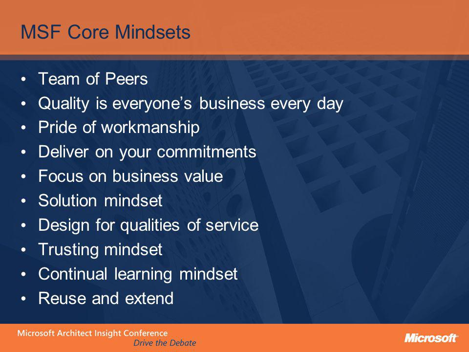 MSF Core Mindsets Team of Peers Quality is everyones business every day Pride of workmanship Deliver on your commitments Focus on business value Solut