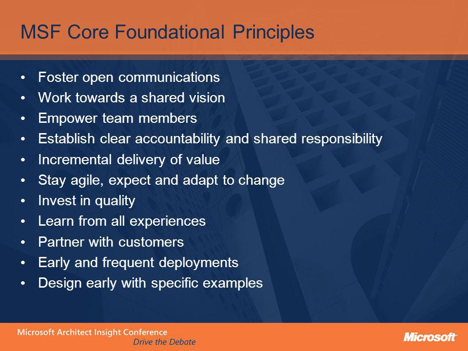 MSF Core Foundational Principles Foster open communications Work towards a shared vision Empower team members Establish clear accountability and share