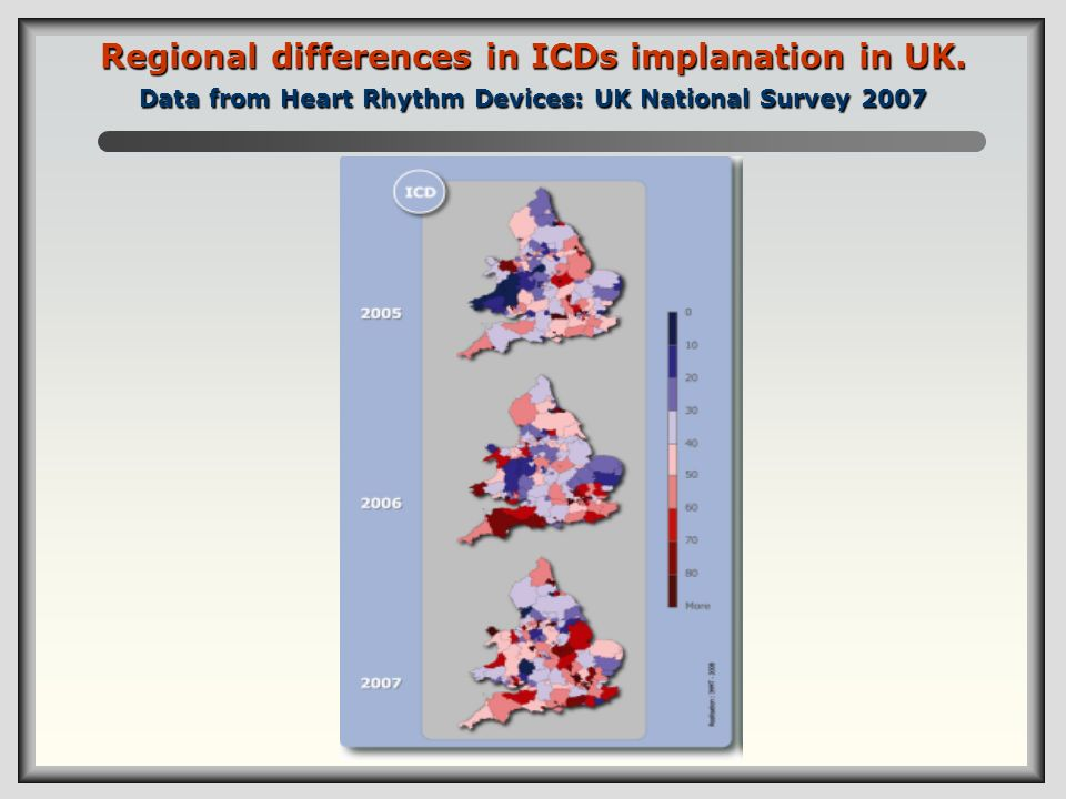 Regional differences in ICDs implanation in UK. Data from Heart Rhythm Devices: UK National Survey 2007