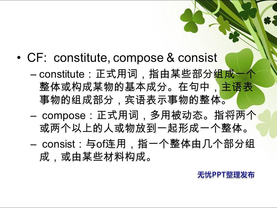 CF: constitute, compose & consist –constitute – compose – consist of