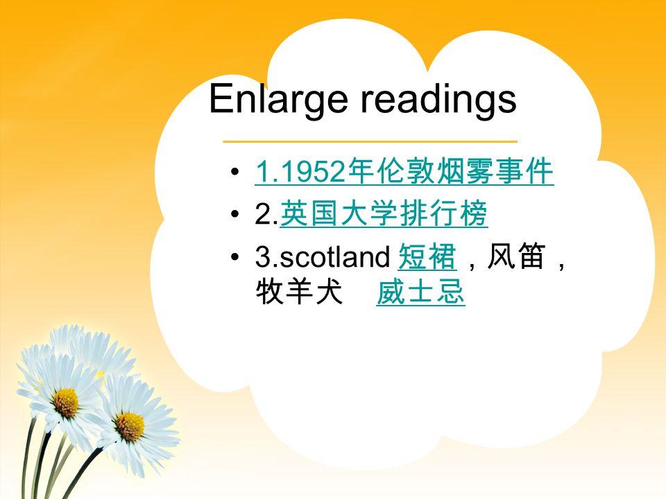 Enlarge readings 1.1952 2. 3.scotland