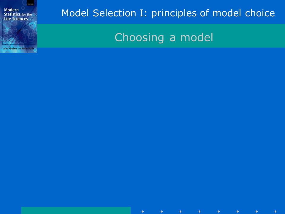 Model Selection I: principles of model choice Choosing a model