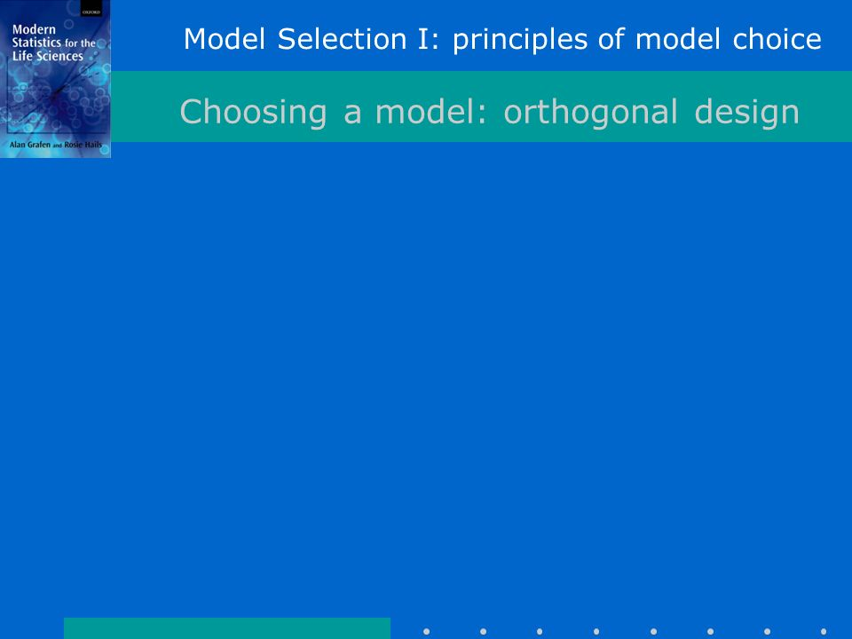 Model Selection I: principles of model choice Choosing a model: orthogonal design