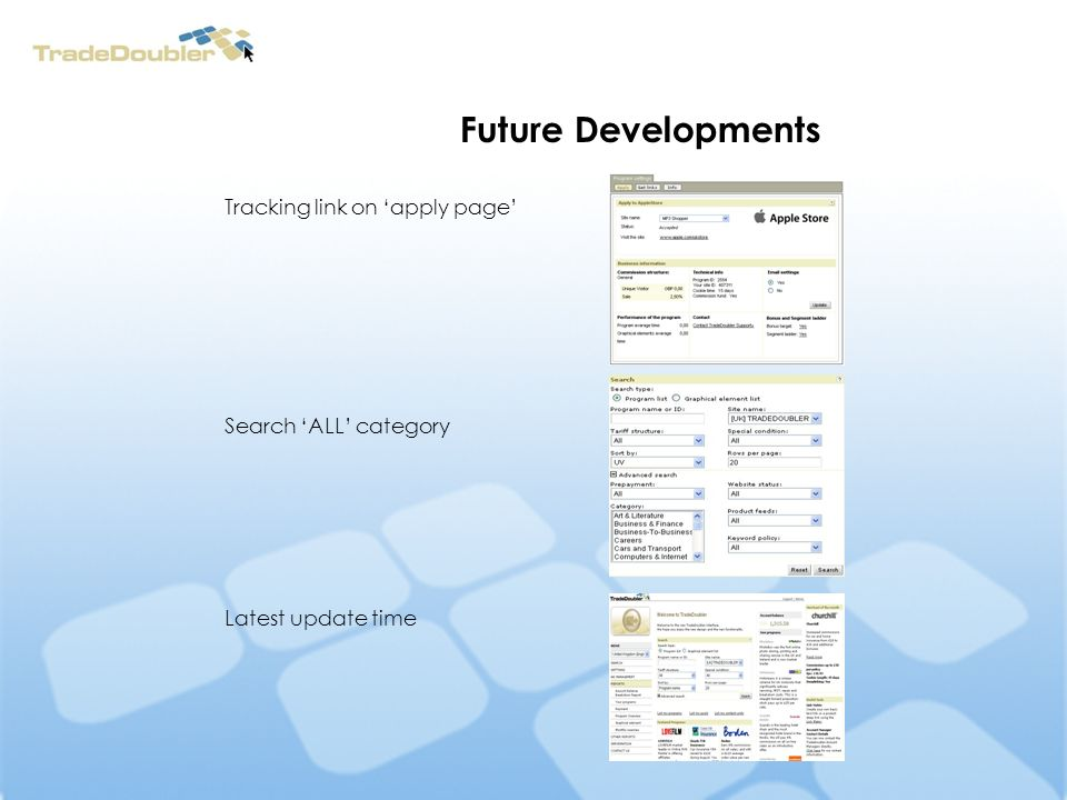 Future Developments Tracking link on apply page Search ALL category Latest update time