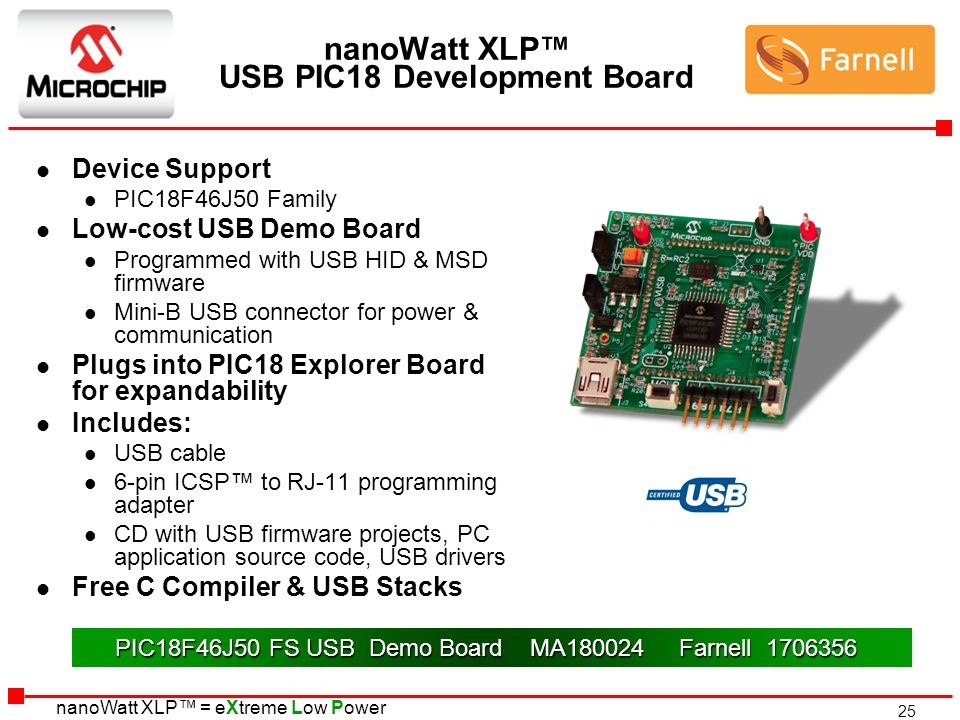 25 nanoWatt XLP = eXtreme Low Power nanoWatt XLP USB PIC18 Development Board l Device Support l PIC18F46J50 Family l Low-cost USB Demo Board l Program