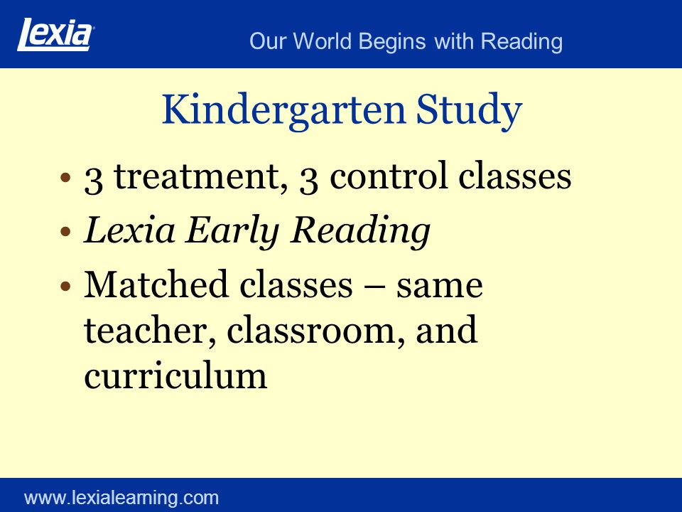 Our World Begins with Reading www.lexialearning.com Kindergarten Study 3 treatment, 3 control classes Lexia Early Reading Matched classes – same teach