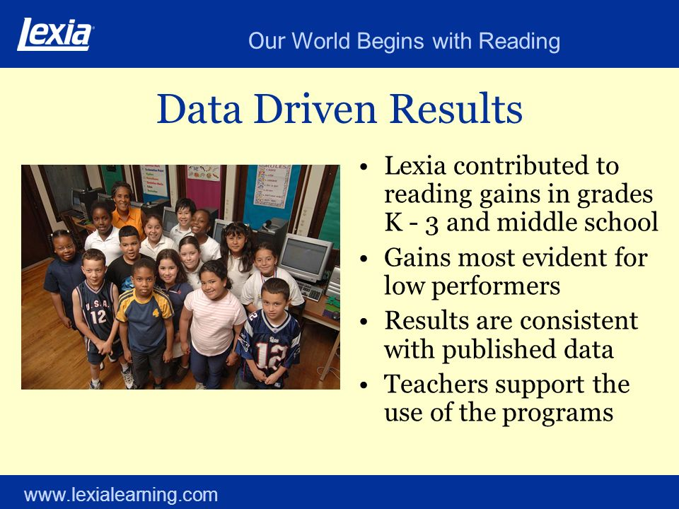Our World Begins with Reading www.lexialearning.com Data Driven Results Lexia contributed to reading gains in grades K - 3 and middle school Gains mos