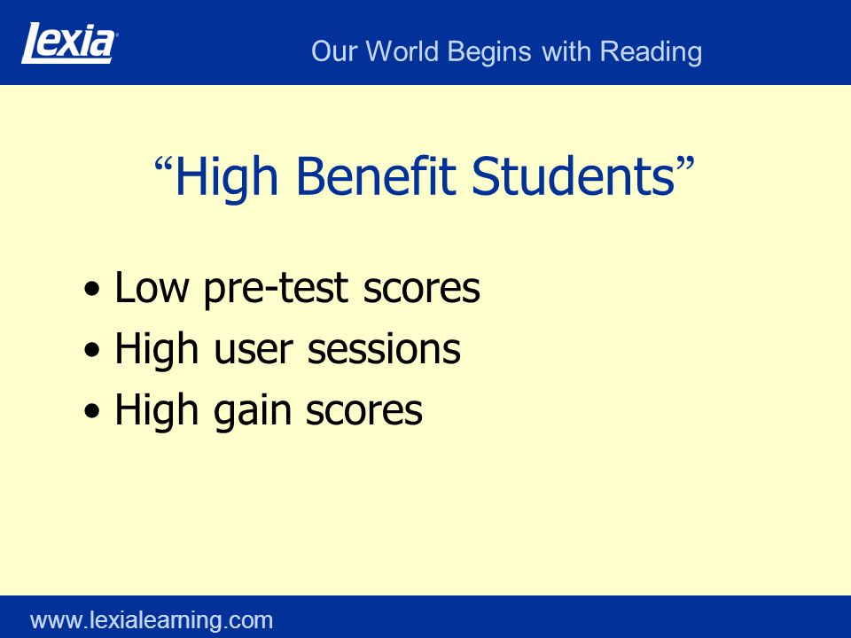 Our World Begins with Reading www.lexialearning.com High Benefit Students Low pre-test scores High user sessions High gain scores