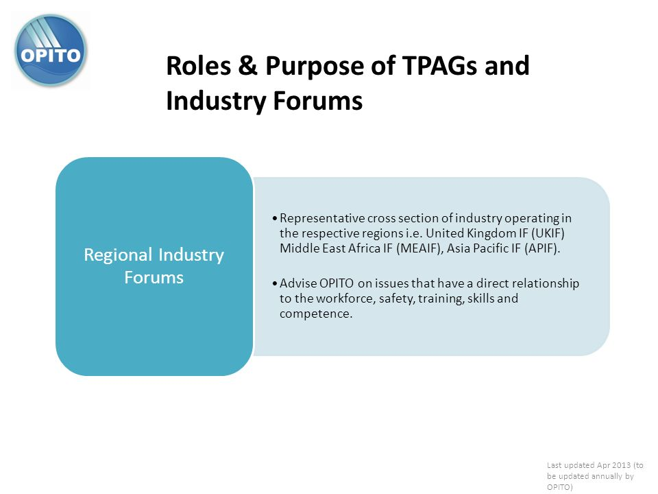Roles & Purpose of TPAGs and Industry Forums Representative cross section of industry operating in the respective regions i.e. United Kingdom IF (UKIF