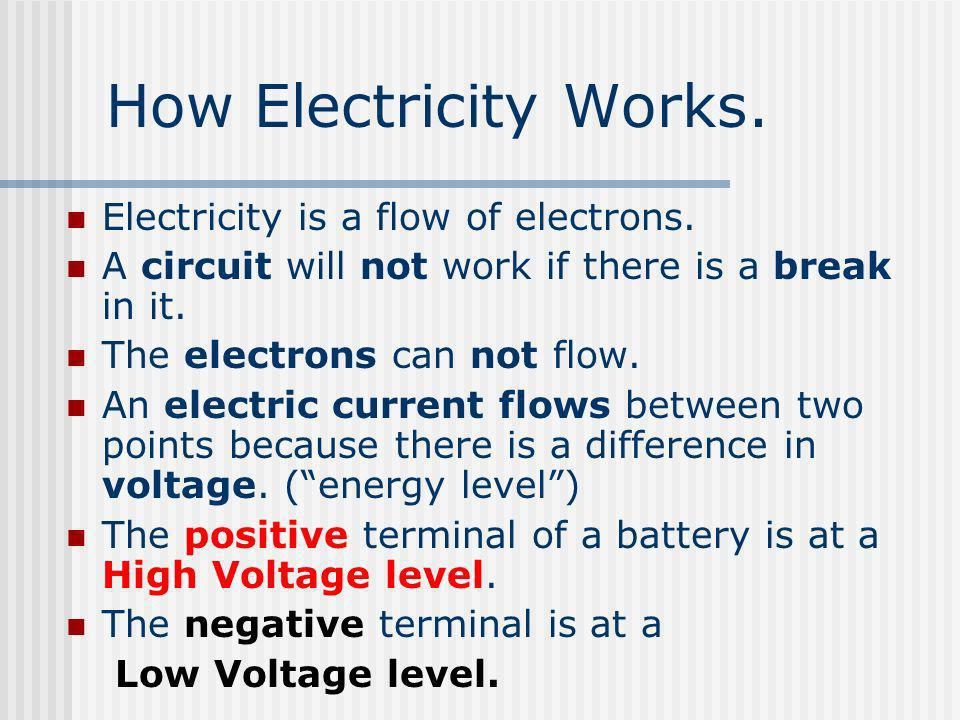 How Electricity Works. Electricity is a flow of electrons. A circuit will not work if there is a break in it. The electrons can not flow. An electric
