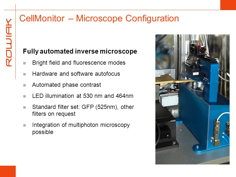 CellMonitor – Microscope Configuration Fully automated inverse microscope Bright field and fluorescence modes Hardware and software autofocus Automate