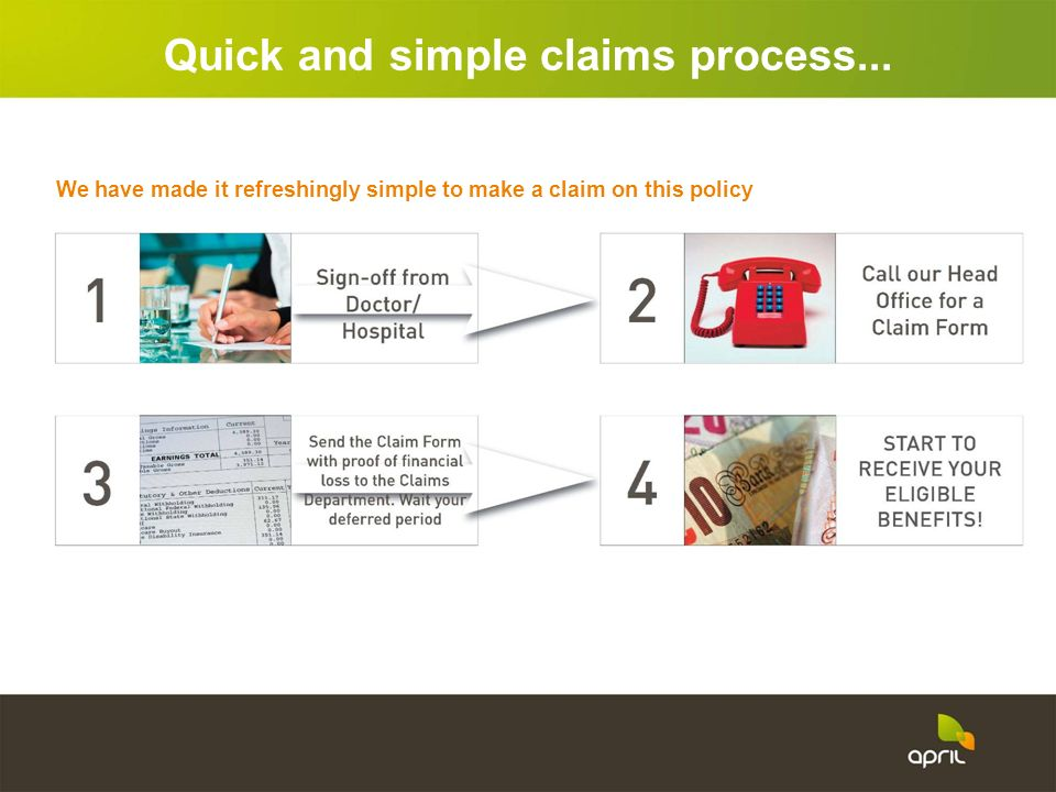 We have made it refreshingly simple to make a claim on this policy Quick and simple claims process...