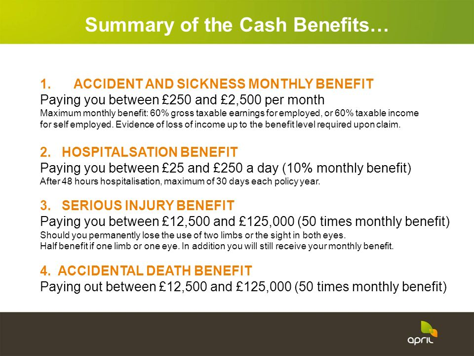 1. ACCIDENT AND SICKNESS MONTHLY BENEFIT Paying you between £250 and £2,500 per month Maximum monthly benefit: 60% gross taxable earnings for employed