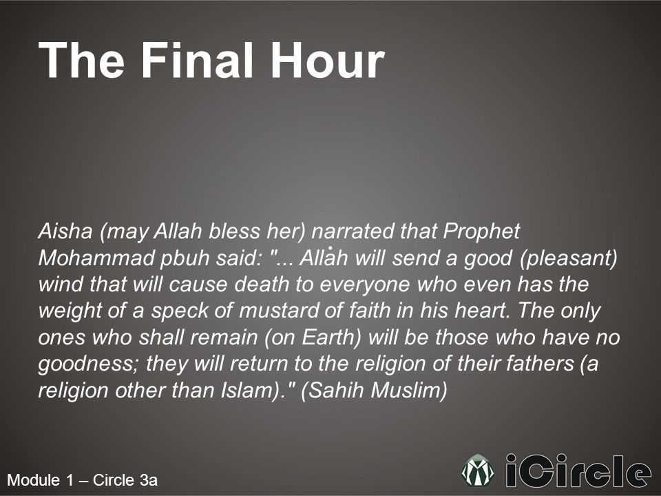 Module 1 – Circle 3a The Final Hour Aisha (may Allah bless her) narrated that Prophet Mohammad pbuh said: ...