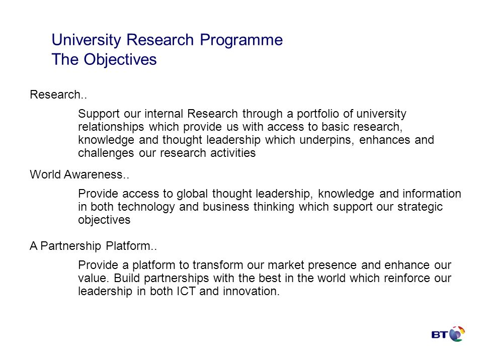 University Research Programme The Objectives Research..