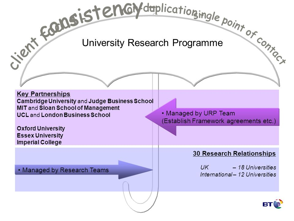 University Research Programme Key Partnerships Cambridge University and Judge Business School MIT and Sloan School of Management UCL and London Business School Oxford University Essex University Imperial College Managed by URP Team (Establish Framework agreements etc.) 30 Research Relationships UK – 18 Universities International – 12 Universities Managed by Research Teams