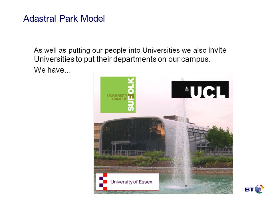 As well as putting our people into Universities we also invite Universities to put their departments on our campus. We have... Adastral Park Model