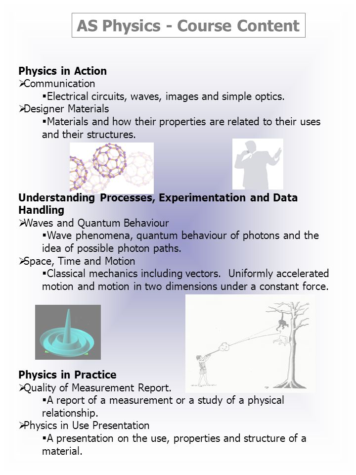 AS Physics - Course Content Physics in Action Communication Electrical circuits, waves, images and simple optics.