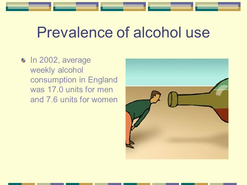 Prevalence of alcohol use In 2002, average weekly alcohol consumption in England was 17.0 units for men and 7.6 units for women